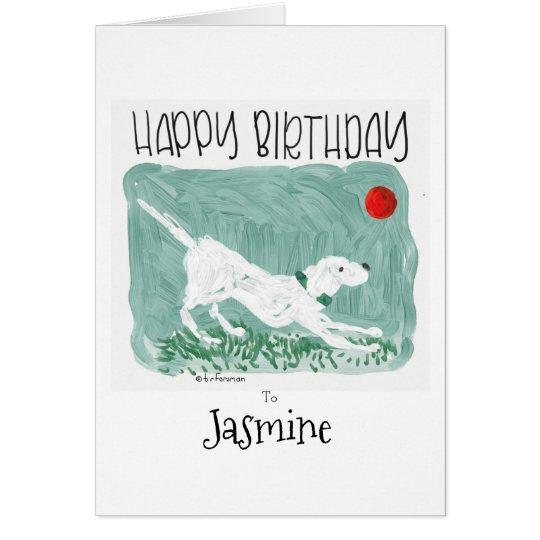 Pintura del perro del feliz cumpleaños tarjeta de felicitación