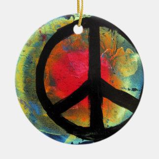 Pintura del signo de la paz del arco iris del arte adorno de cerámica