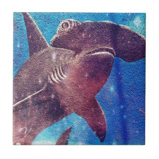 Pintura del tiburón de Hammerhead Azulejo