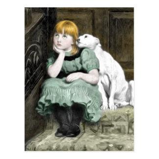 Pintura del Victorian del chica del perro que Postal