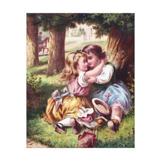 Pintura del vintage de la amistad de los niños impresión en lienzo
