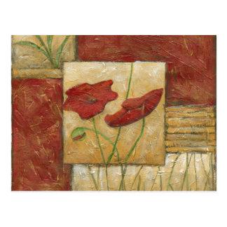 Pintura floral con los movimientos visibles del postal