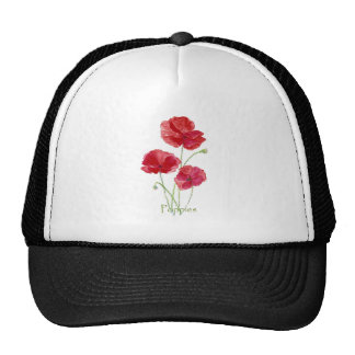 Pintura floral de la flor roja de la amapola de la gorras