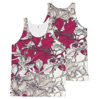 Pintura floral de Nouveau del vintage elegante del Camiseta De Tirantes Con Estampado Integral