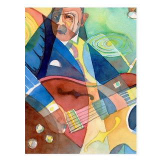 """Pintura """"guitarrista de la música del jazz """" postal"""