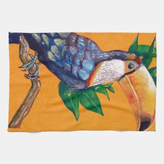 Pintura hermosa del pájaro de Toucan Paño De Cocina
