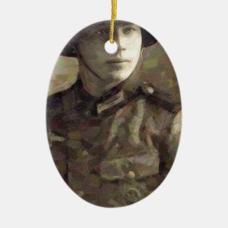 Pintura impresionista abstracta de un soldado adorno de cerámica