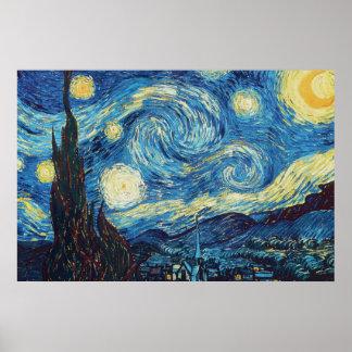 Pintura impresionista de la noche estrellada de póster