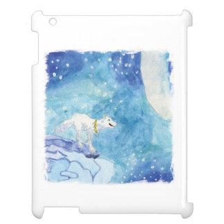 Pintura infantil de la acuarela con el lobo nevoso