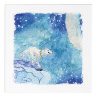 Pintura infantil de la acuarela con el lobo nevoso impresión acrílica