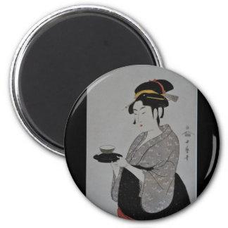 Pintura japonesa antigua circa 1793 imanes de nevera