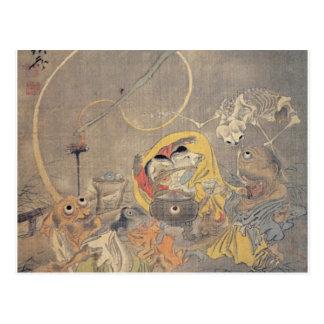 Pintura japonesa antigua extraña de demonios postal