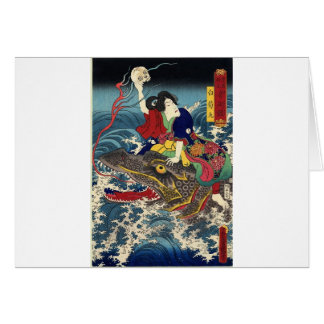 Pintura japonesa antigua, montar a caballo japonés tarjeton