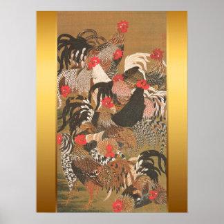 Pintura japonesa de los gallos con el fondo de oro póster