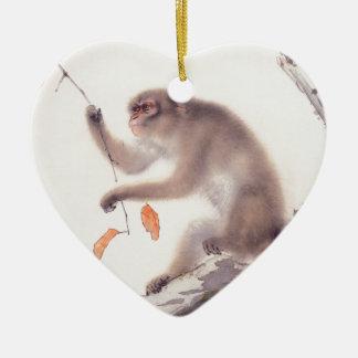 Pintura japonesa del mono - año del mono adorno navideño de cerámica en forma de corazón