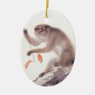 Pintura japonesa del mono - año del mono adorno navideño ovalado de cerámica