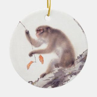 Pintura japonesa del mono - año del mono adorno navideño redondo de cerámica