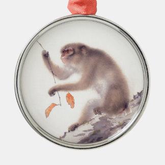 Pintura japonesa del mono - año del mono adorno navideño redondo de metal