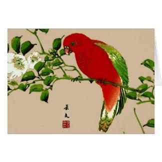 Pintura japonesa del vintage de un loro, de un tarjeta