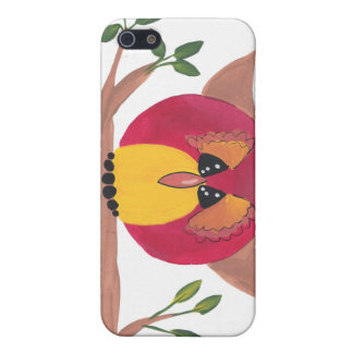 Pintura linda del búho de cuernos iPhone 5 coberturas