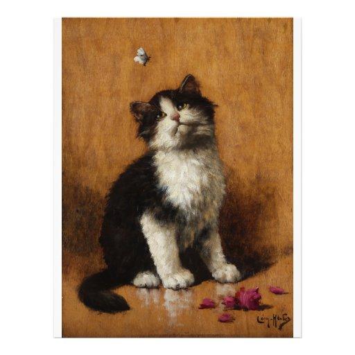 Pintura linda del gato tarjetas informativas