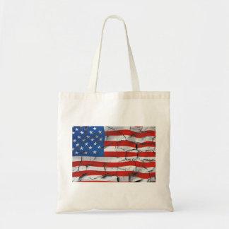 Pintura llevada agrietada patriótica de la bandera bolso de tela