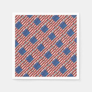 Pintura llevada agrietada patriótica de la bandera servilleta de papel