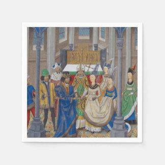 Pintura medieval del boda de la raza mixta servilleta desechable