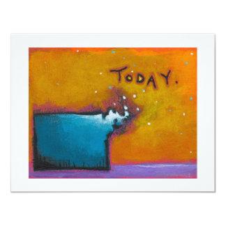 Pintura minúscula expresiva colorida hoy única del invitación 10,8 x 13,9 cm
