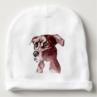 Pintura monocromática de la acuarela del perro del gorrito para bebe