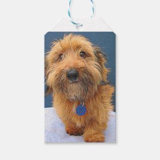 Pintura mullida del perro etiquetas para regalos