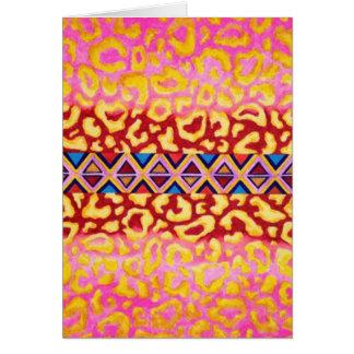 Pintura nativa del estampado de animales del rosa tarjeta de felicitación
