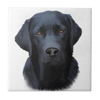 Pintura negra del arte del color de agua del perro azulejo cuadrado pequeño