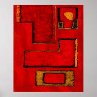 Pintura negra roja del arte geométrico abstracto
