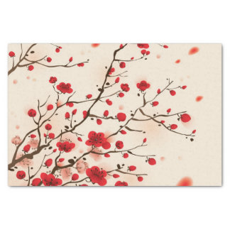 Pintura oriental del estilo, flor del ciruelo en papel de seda