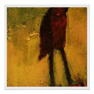 Pintura original abstracta - pájaro perfect poster