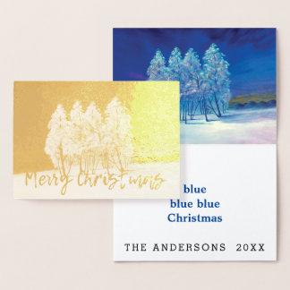 Pintura original de los árboles de navidad azules tarjeta con relieve metalizado