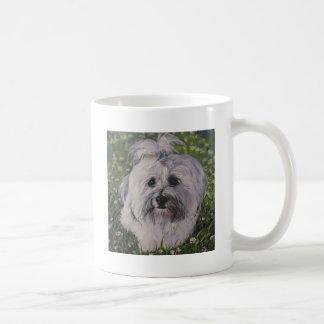 Pintura realista hermosa del arte del perro de taza de café