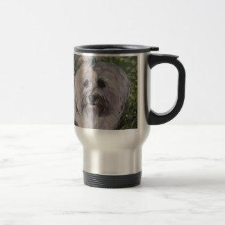 Pintura realista hermosa del arte del perro de taza de viaje