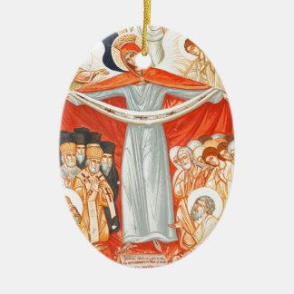 Pintura religiosa adorno navideño ovalado de cerámica