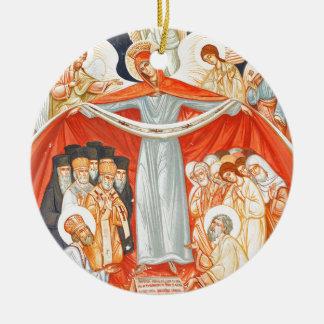 Pintura religiosa adorno navideño redondo de cerámica