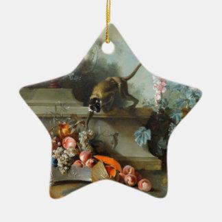 Pintura rococó por el año del mono adorno navideño de cerámica en forma de estrella