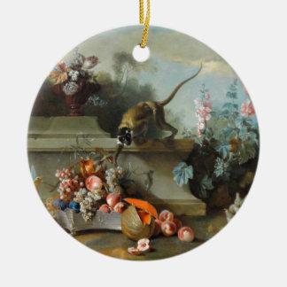 Pintura rococó por el año del mono adorno navideño redondo de cerámica