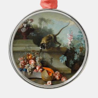 Pintura rococó por el año del mono adorno navideño redondo de metal