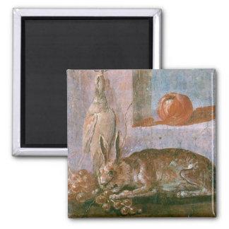 Pintura romana del conejo con la consumición imán