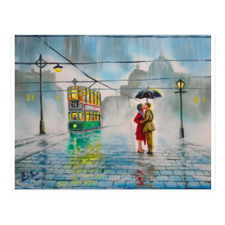 pintura romántica de la tranvía del paraguas de lo postales