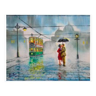 pintura romántica de la tranvía del paraguas de postal