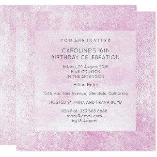 Pintura rosada gris de la fiesta de cumpleaños del invitación 13,3 cm x 13,3cm
