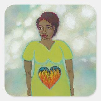 Pintura simbólica del arte popular de la mujer del pegatina cuadrada