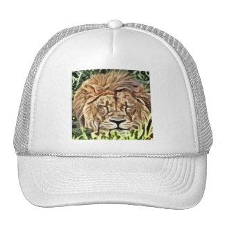 Pintura soñolienta del león gorras
